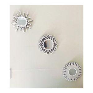 Set of three mini white mirrors